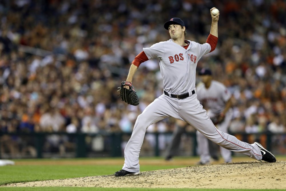 Boston Red Sox relief pitcher Andrew Miller throws during a game against the Detroit Tigers last month. (Carlos Osorio/AP)