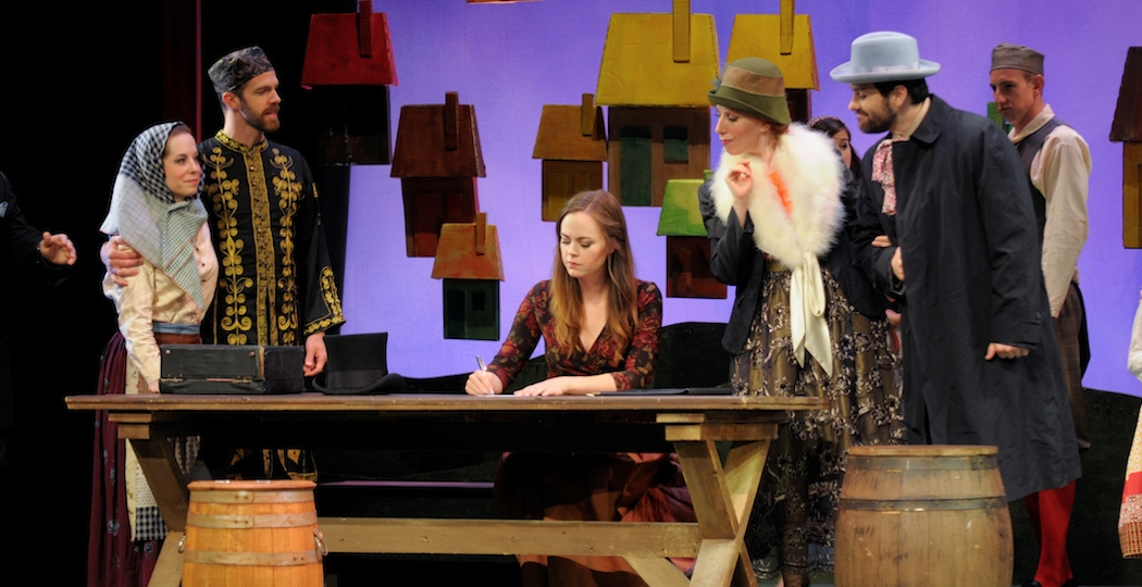 Nicole Percifield (in center at table) is Marenka in Boston Midsummer Opera's 2014 production, The Bartered Bride