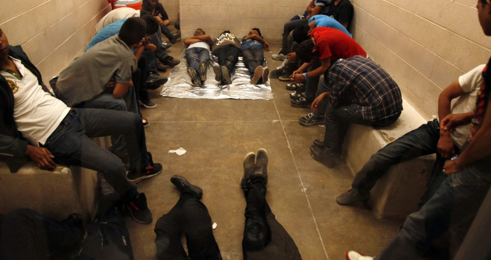 MCALLEN, TX. --TUESDAY, JULY 15, 2014 -- Immigrants who have been detained while crossing the border are held inside the McAllen Border Patrol Station in McAllen, Texas, Tuesday July 15, 2014. More than 350 detainees were being held on Tuesday, July 15, 2014, at the station. A solution for the growing crisis of tens of thousands of unaccompanied children showing up at the U.S.-Mexico border is looking increasingly elusive with three weeks left before Congress leaves Washington for an annual August recess. (AP)