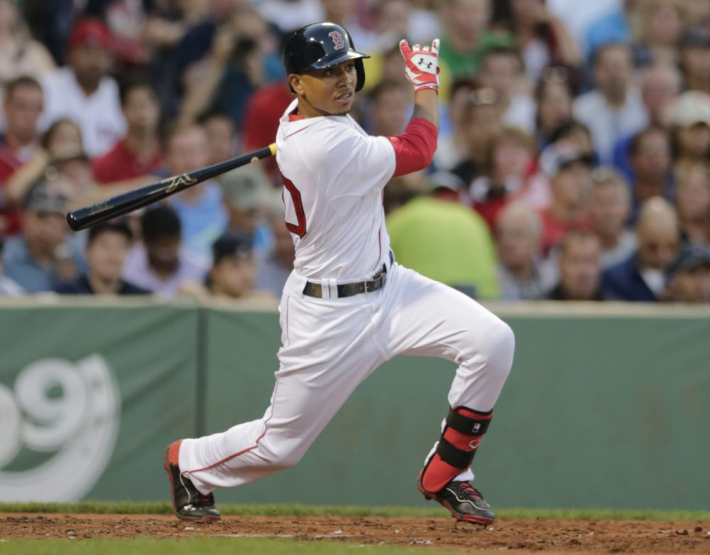 Boston Red Sox center fielder Mookie Betts during a baseball game at Fenway Park June 30. (AP)