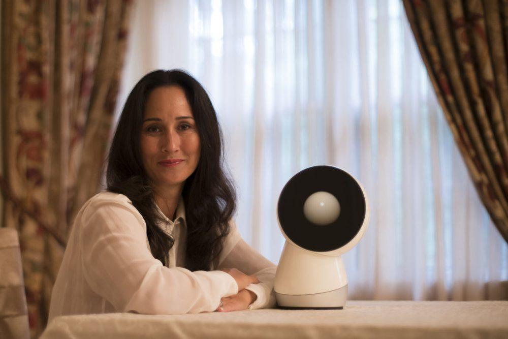 Social robotics expert and Jibo CEO Cynthia Breazeal next to the company's robot-in-development. (Courtesy)