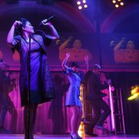 """Ruthie Ann Miles and the cast of """"Here Lies Love."""" (Joan Marcus)"""