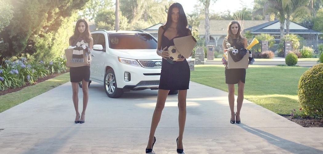Adriana Lima and friends in one of Kia Sorento's World Cup ads. (Courtesy, David&Goliath)