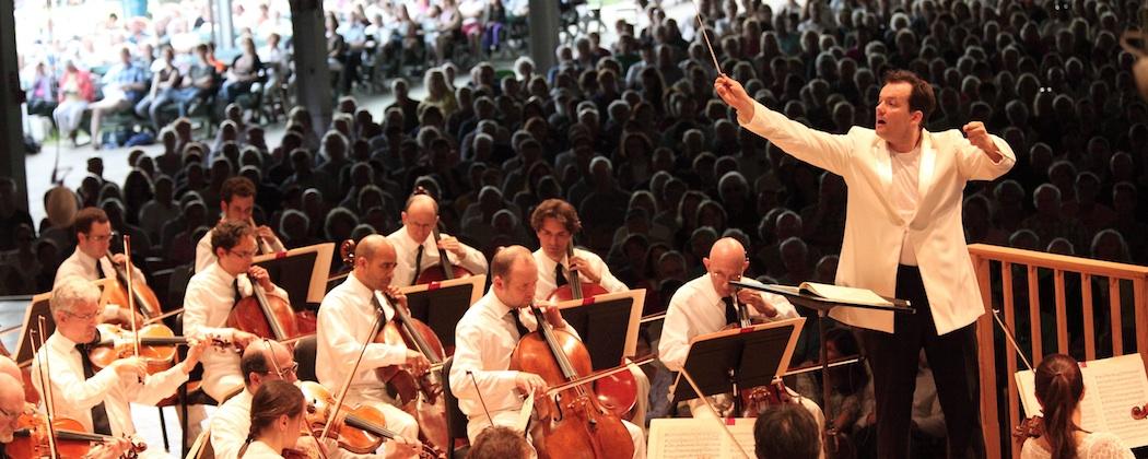 Andris Nelsons leading the Boston Symphony Orchestra at Tanglewood Sunday. (Hilary Scott)