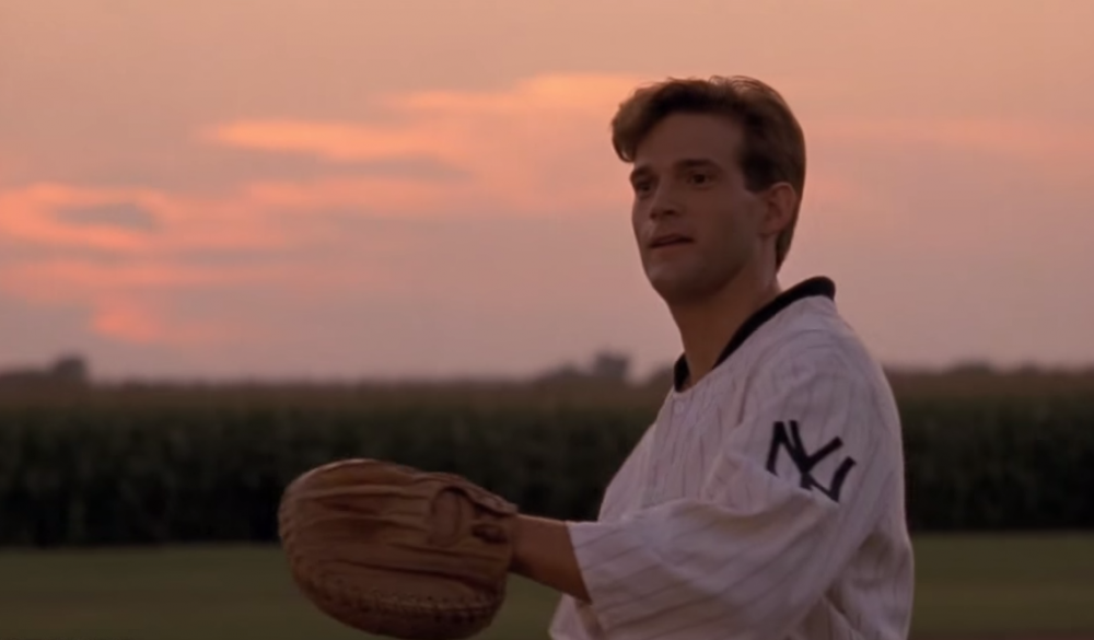 "Actor Dwier Brown in the iconic final scene of the 1989 movie ""Field of Dreams."""