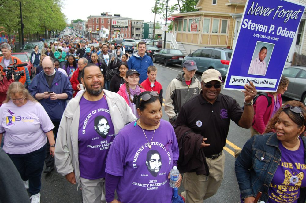 Thousands marched down Dorchester Avenue on May 12 in the annual Mother's Day Walk for Peace, many of them families remembering loved ones murdered in Boston and calling for an end to gun violence in the city. (WBUR/Greg Cook)