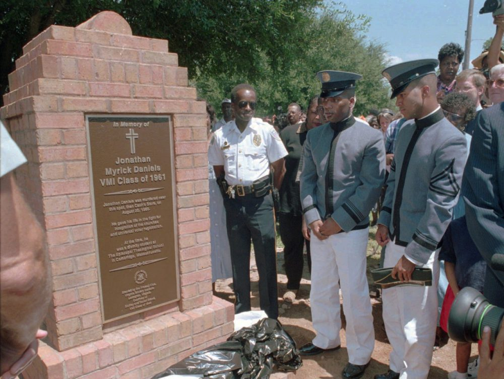 Virginia Military Institute cadets observe the 1997 unveiling of The Jonathan Daniels Memorial Marker in Hayneville, Alabama. (AP Photo/Andy Hails)