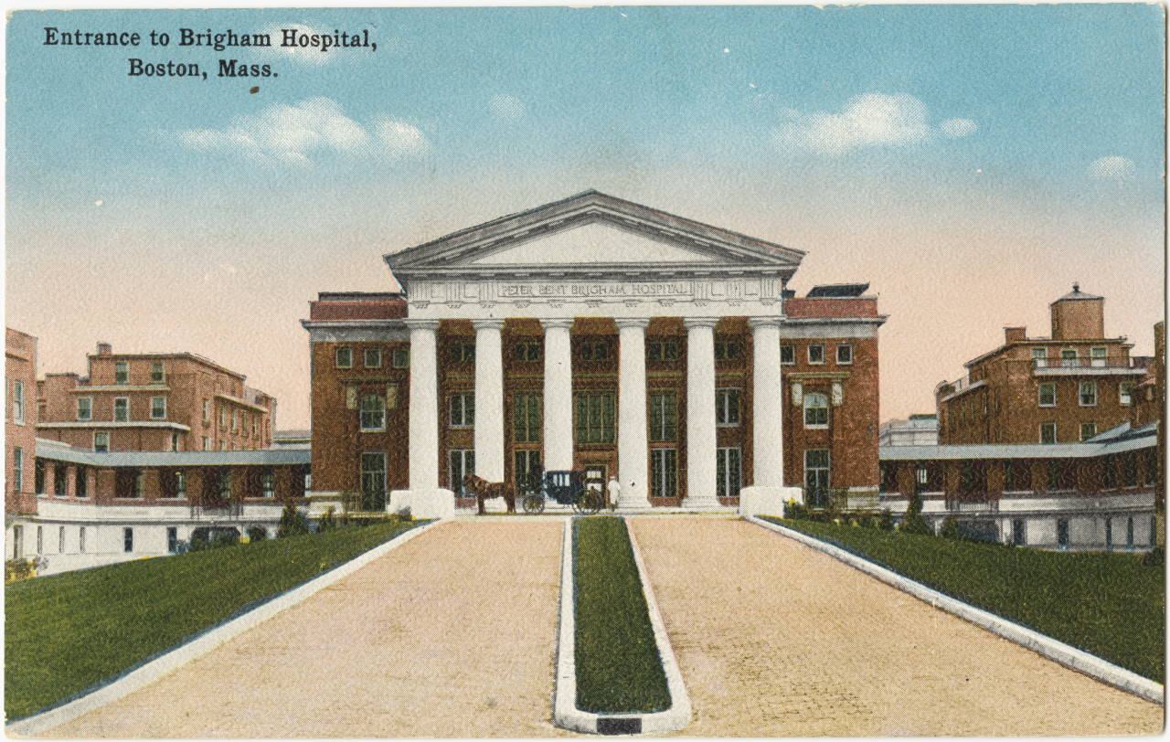 The entrance to Brigham Hospital in Boston in the early 1900s. (Boston Public Library/Flickr)