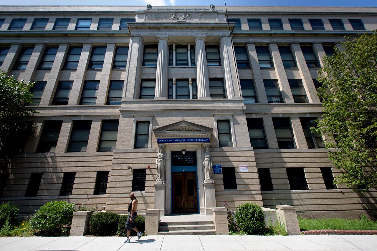 A view of the Dearborn school in Roxbury (Jesse Costa/WBUR)