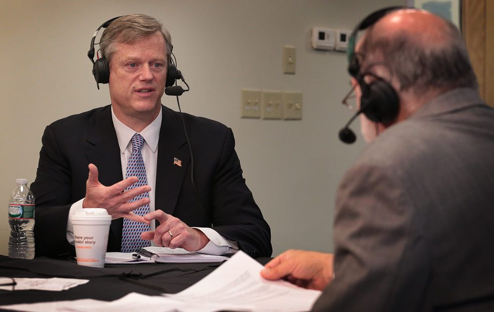Charlie Baker, during a WBUR debate in August (Robin Lubbock/WBUR)