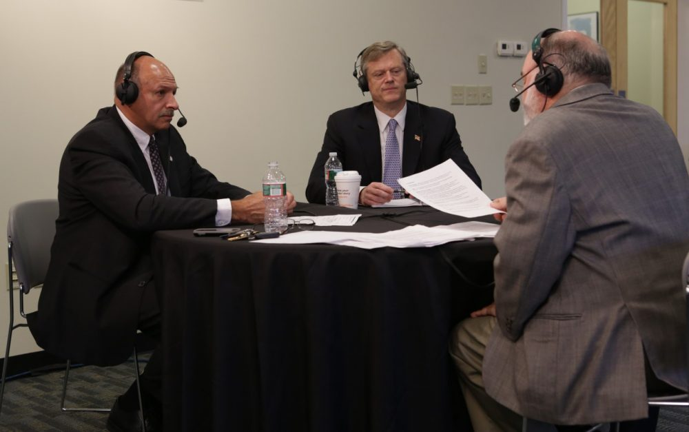 Republican gubernatorial candidates Charlie Baker and Mark Fisher debated at WBUR Wednesday, Aug. 13. (Jesse Costa/WBUR)