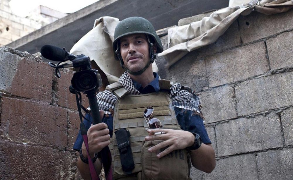 American freelance journalist James Foley is pictured in November 2012 while covering the civil war in Aleppo, Syria. (Nicole Tung/freejamesfoley.org via AP)