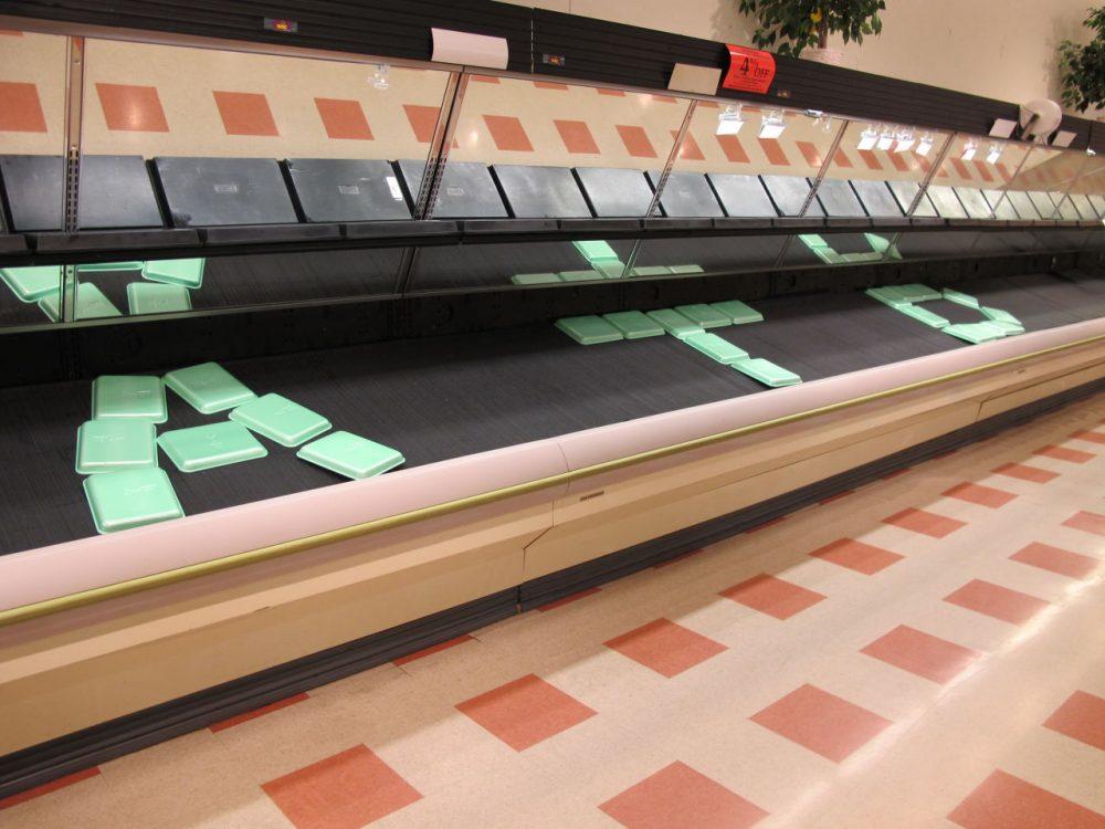 The produce section is deserted at Market Basket's Somerville store. (Curt Nickisch/WBUR)