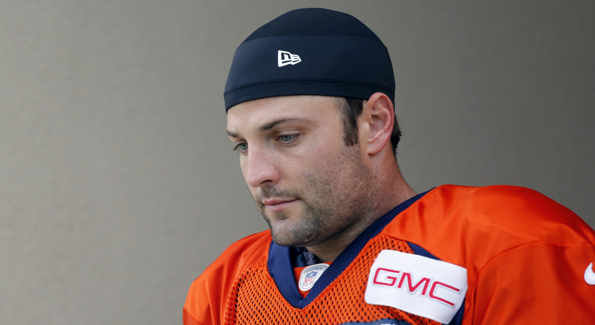 "Steve Almond: ""[T]he risks of permanent brain trauma increase with every concussion, and anyone who's seen you play knows that you get hit. A lot."" Pictured: Denver Broncos'  Wes Welker takes to the field during NFL football training camp on Saturday, July 26, 2014, in Englewood, Colo. (Jack Dempsey/AP)"