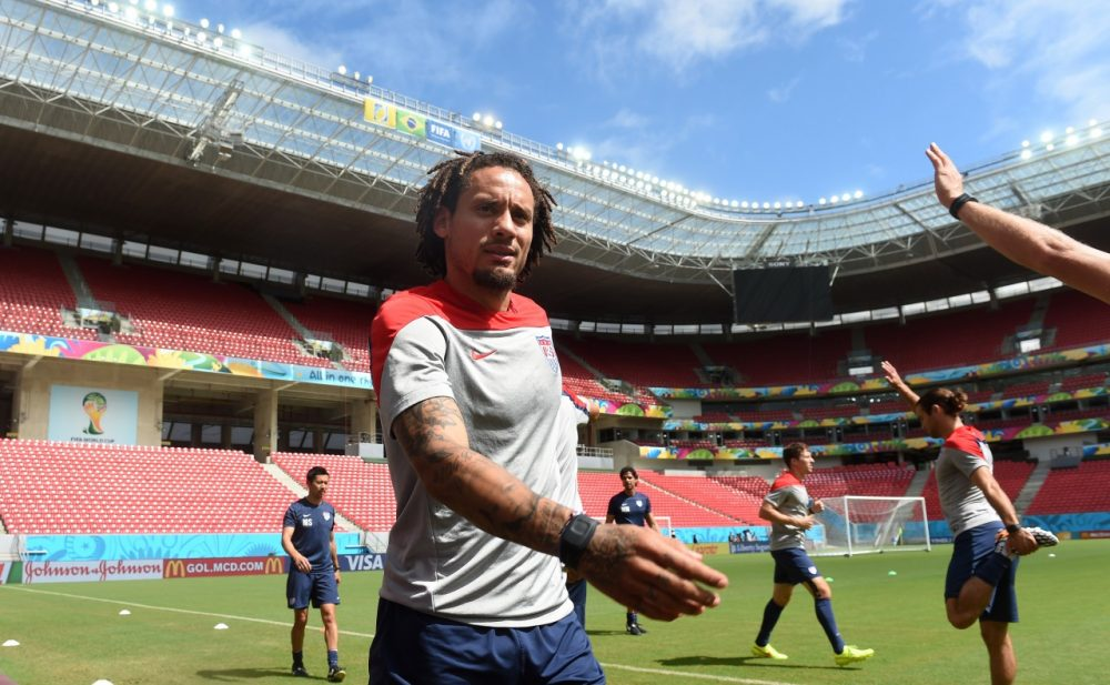 US midfielder Jermaine Jones warms up during a training session at the Pernambuco Arena in Recife on June 25, 2014 on the eve of the Group G football match between USA and Germany in the 2014 FIFA World Cup. (Patrik Stollarz/AFP/Getty Images)
