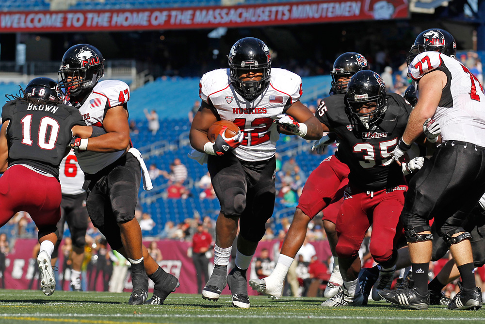 Northern Illinois running back Cameron Stingily scores a touchdown in the team's win over UMass in November of last year at Gillette Stadium in Foxborough. (Stew Milne/AP)
