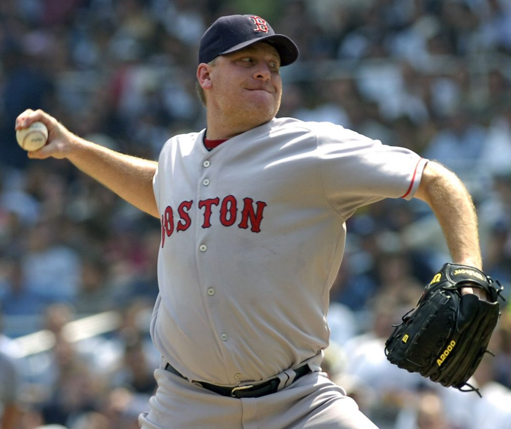 Boston Red Sox pitcher Curt Schilling delivers the ball during inning MLB baseball against the New York Yankees in 2007 at Yankee Stadium in New York. (Bill Kostroun/AP photo)