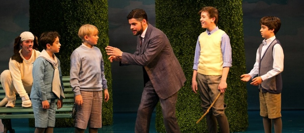 """Jeremy Jordan as J.M. Barrie and the children (and dog) of """"Finding Neverland."""" (Evgenia Eliseeva)"""