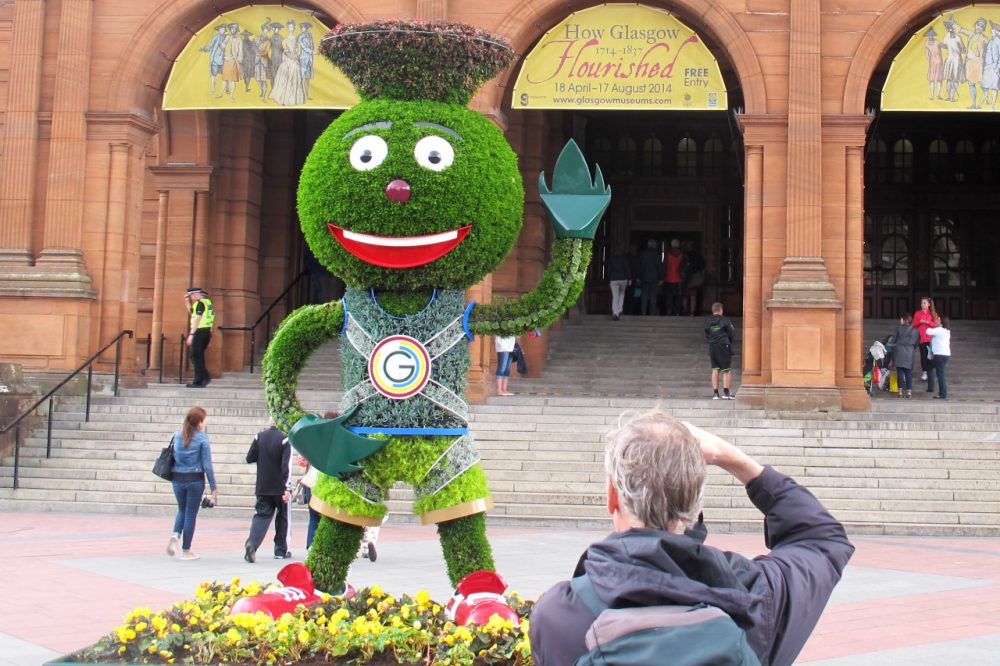 You won't find a lot of U.S. sports apparel in Scotland, but Clyde, the Commonwealth Games mascot, was everywhere this summer. (Doug Tribou/Only A Game)