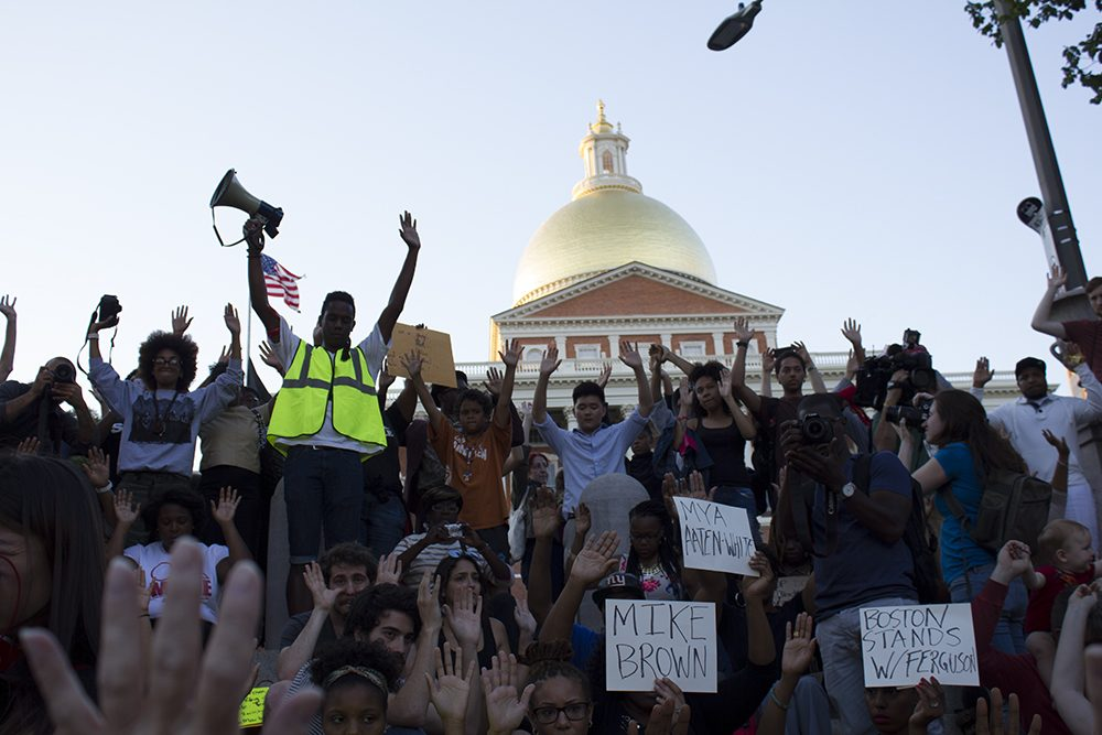 The Boston Common gathering was one of many planned across the country by a movement calling itself the National Moment of Silence For Victims of Police Brutality. (Nate Goldman/WBUR)
