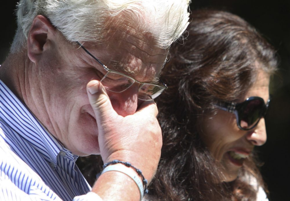 John and Diane Foley spoke with reporters Aug. 20 outside their home in Rochester, N.H. (Jim Cole/AP)