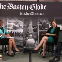 Candidates Maura Healey and Warren Tolman on the right. (YouTube)