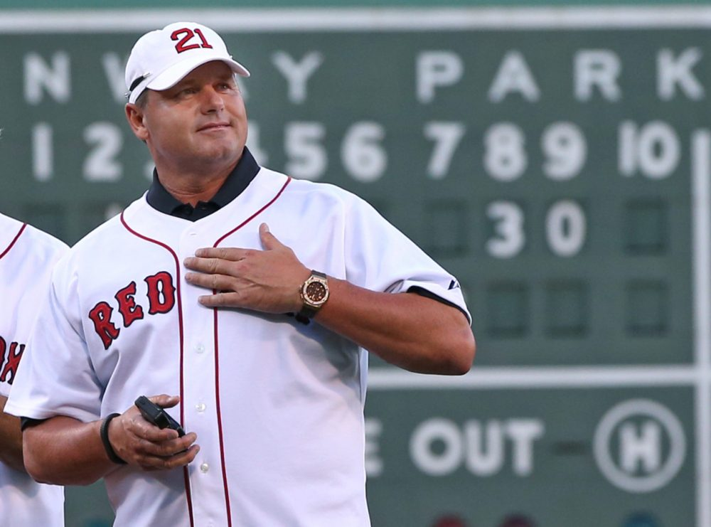 Former Boston Red Sox pitcher Roger Clemens during a ceremony prior at Fenway Park in 2013. On Thursday, Celemens will be inducted into the Red Sox Hall of Fame. (AP/Elise Amendola)