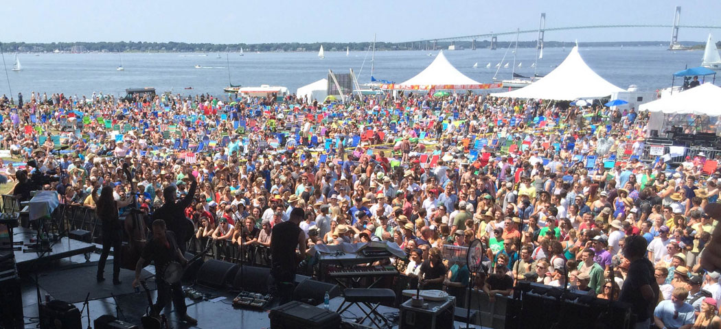 The Devil Makes Three performs on the big stage at the Newport Folk Festival. (Katie McNally)