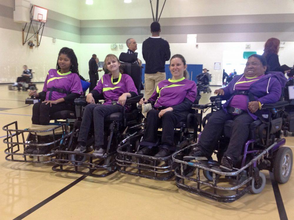 "The ""Kryptonite Pride"" power soccer team: from Left to Right: Lessia Bemmel, Alison Boswell, Jessica Lehman, Nikki Brown-Booker. (George Lavender/OAG)"