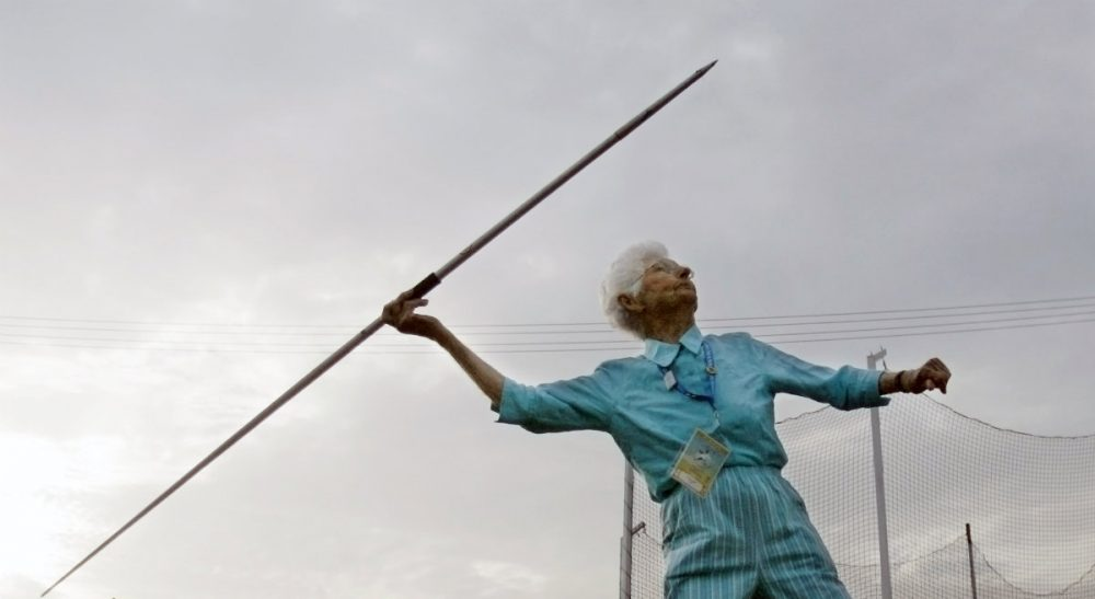 """Barbara Mende: """"Remember -- we were people before we were seniors. And we still are."""" Pictured: Marnie Evans gets ready to toss the javelin during the National Senior Games in Louisville, Ky., Friday, June 29, 2007. (Ed Reinke/AP)"""