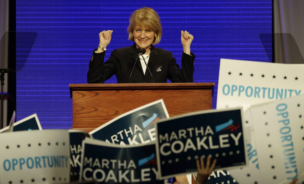 Massachusetts Attorney General Martha Coakley is the front-runner in the Democratic gubernatorial race, and maintains a lead in hypothetical general election matchups. She's seen here in a June file photo. (Stephan Savoia/AP)