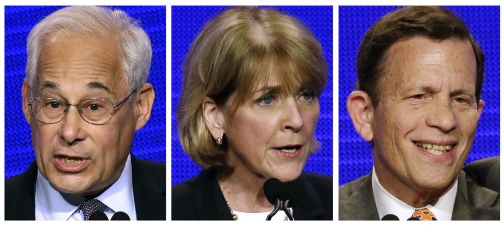 Massachusetts Democratic gubernatorial hopefuls, from left, Don Berwick, Martha Coakley and Steve Grossman at the state Democratic Convention in Worcester, Mass. in June. (Stephan Savoia/AP, file)