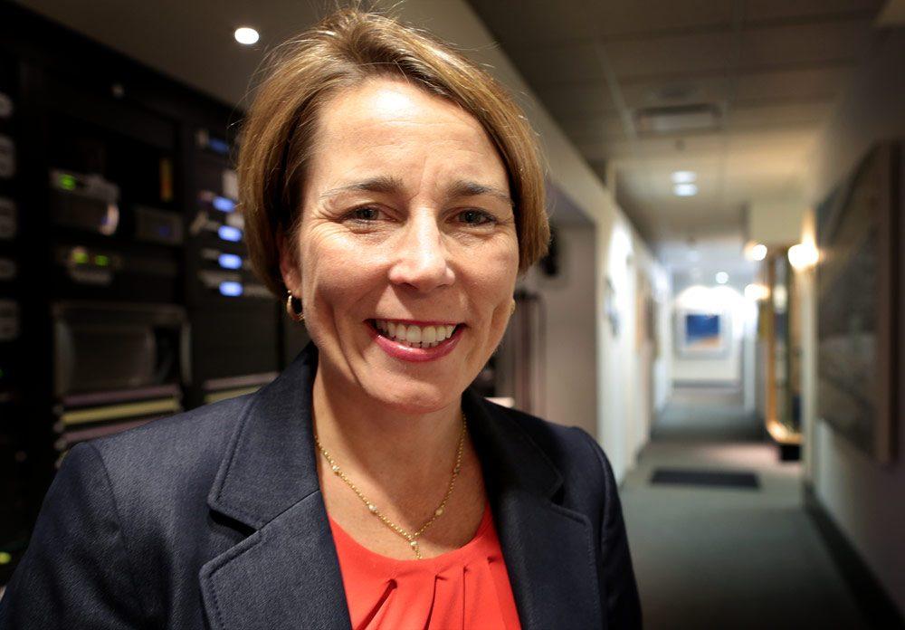 Candidate for attorney general, Maura Healey, in WBUR's studios. (Robin Lubbock/WBUR)
