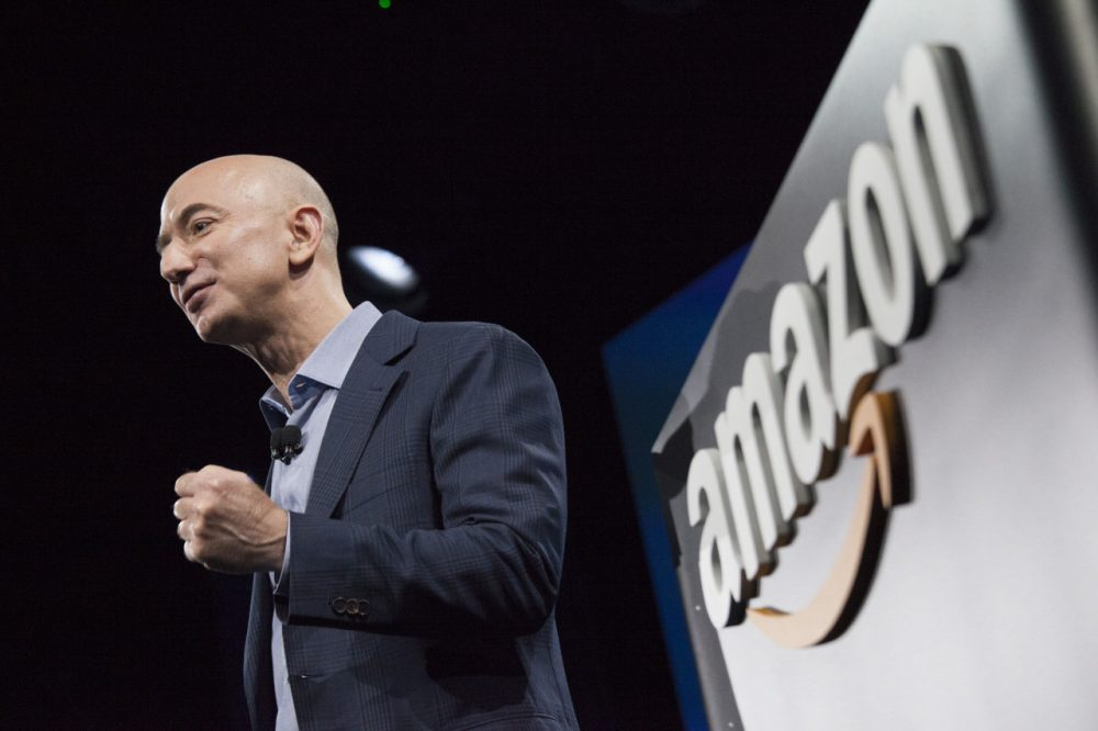 Amazon.com founder and CEO Jeff Bezos presents the company's first smartphone, the Fire Phone, on June 18, 2014 in Seattle, Washington. The much-anticipated device is available for pre-order today and is available exclusively with AT&T service. (David Ryder/Getty Images)
