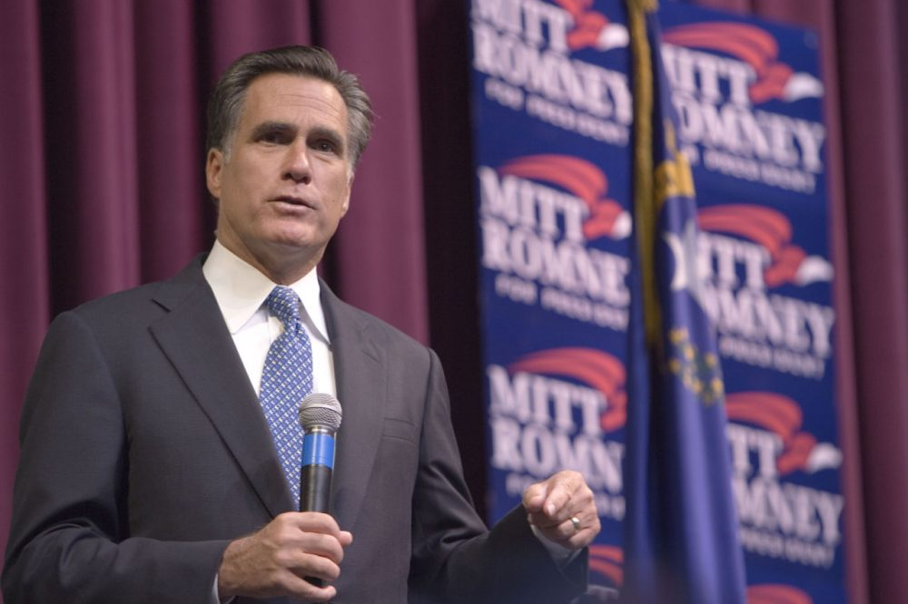 Former GOP presidential candidate Mitt Romney speaks during his campaign in 2007. (Ross Andreson/Elko Daily Free Press/AP)