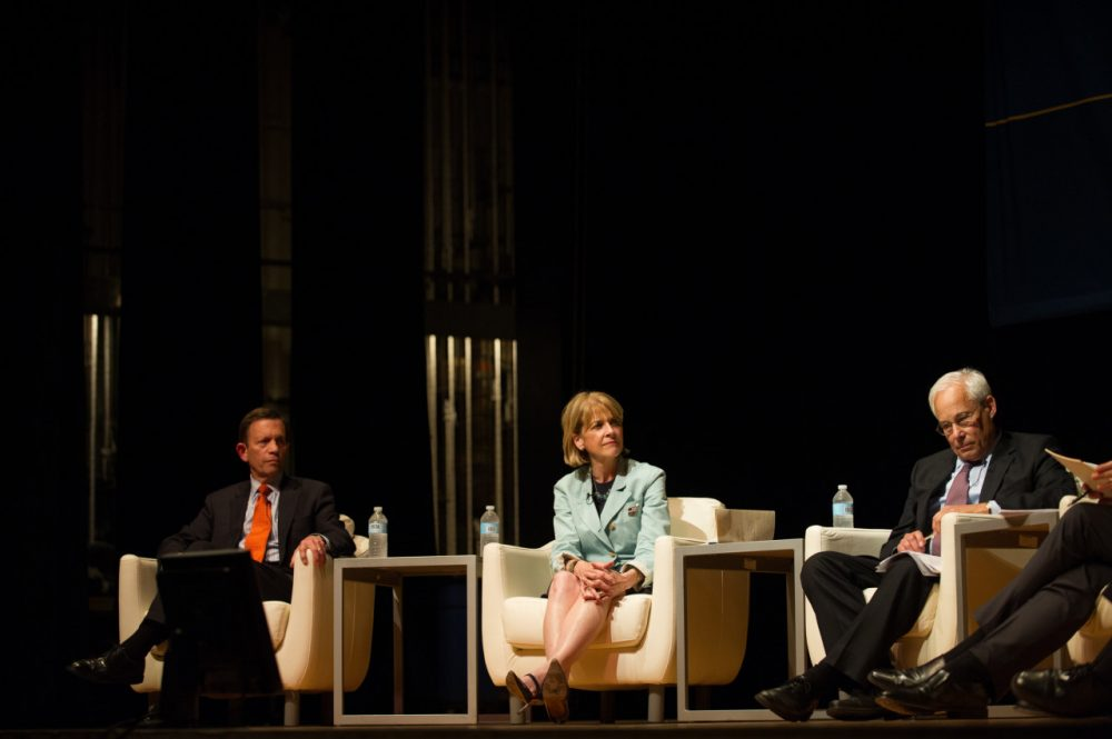 Democrats Steve Grossman, Martha Coakley, and Donald Berwick participate in the 2014 Massachusetts Gubernatorial Forum on Mental Health in Boston. (AP)