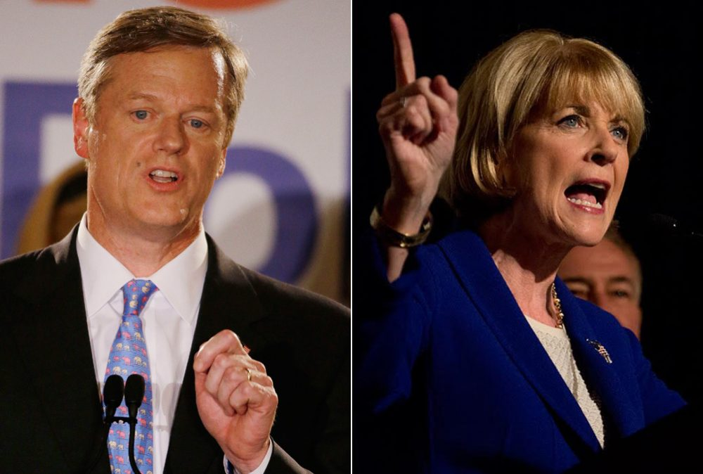 Republican Charlie Baker, left, and Democrat Martha Coakley. (AP's Stephan Savoia, WBUR's Jesse Costa)
