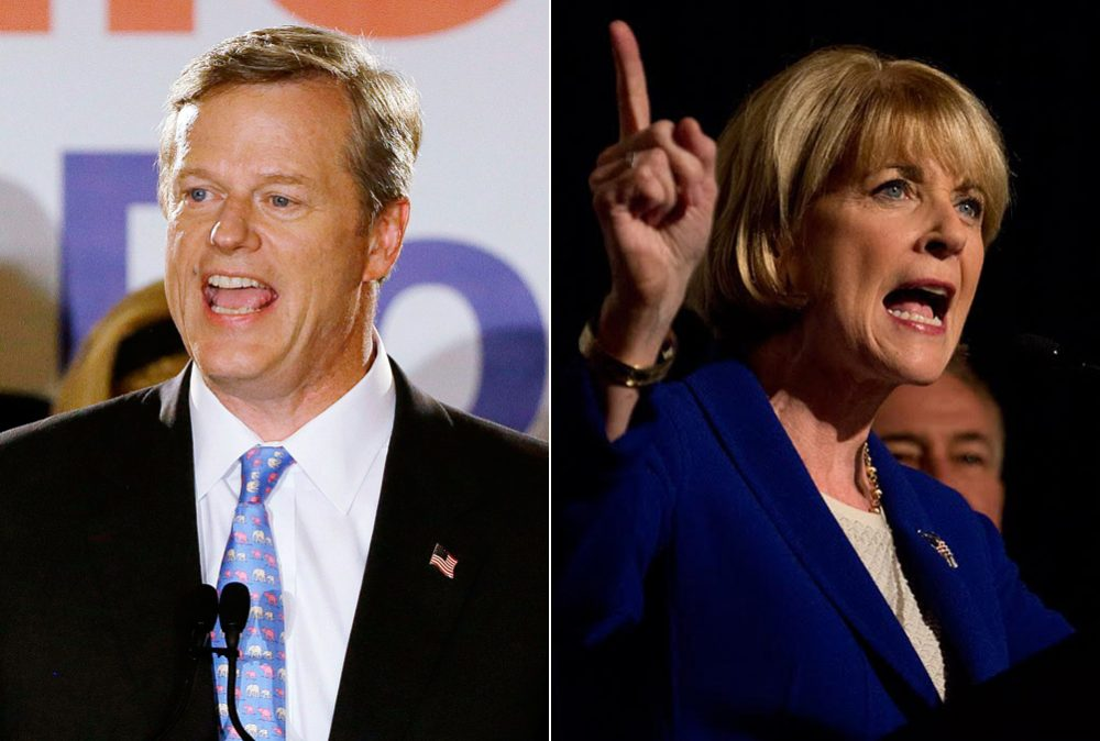Republican Charlie Baker, left, and Democrat Martha Coakley (AP's Stephan Savoia, WBUR's Jesse Costa)