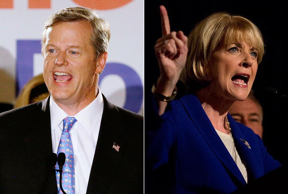 Republican Charlie Baker, left, and Democrat Martha Coakley (AP's Stephan Savoia, WBUR's Jesse Costa)
