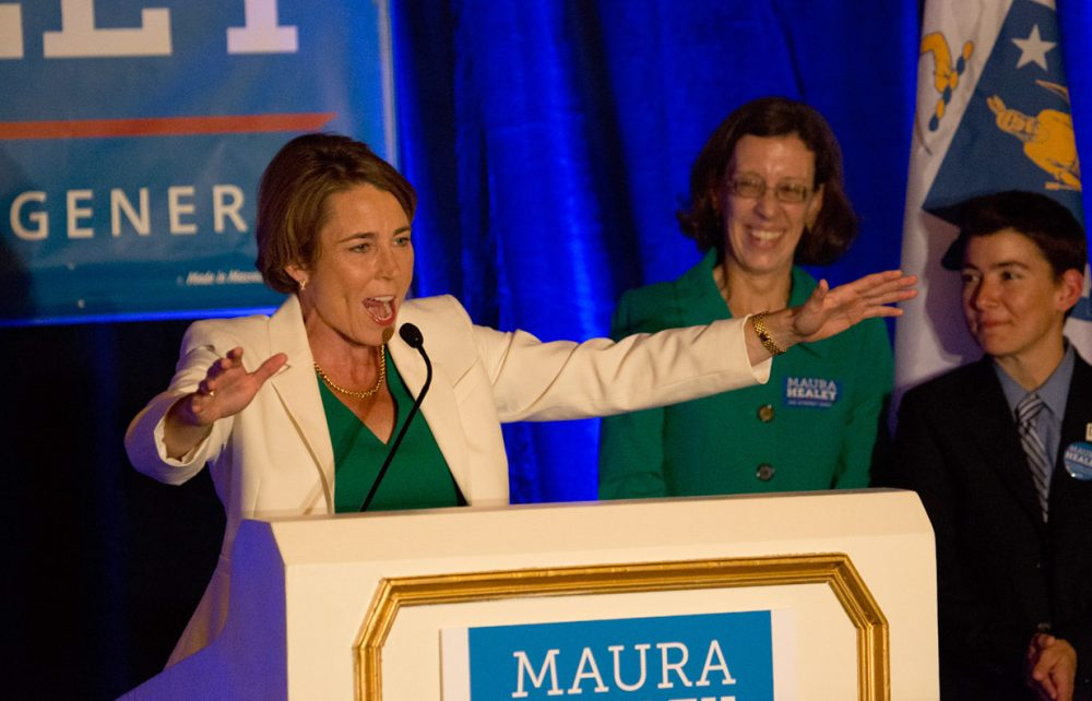 Maura Healey celebrates her win in the Democratic race for attorney general. (Jesse Costa/WBUR)