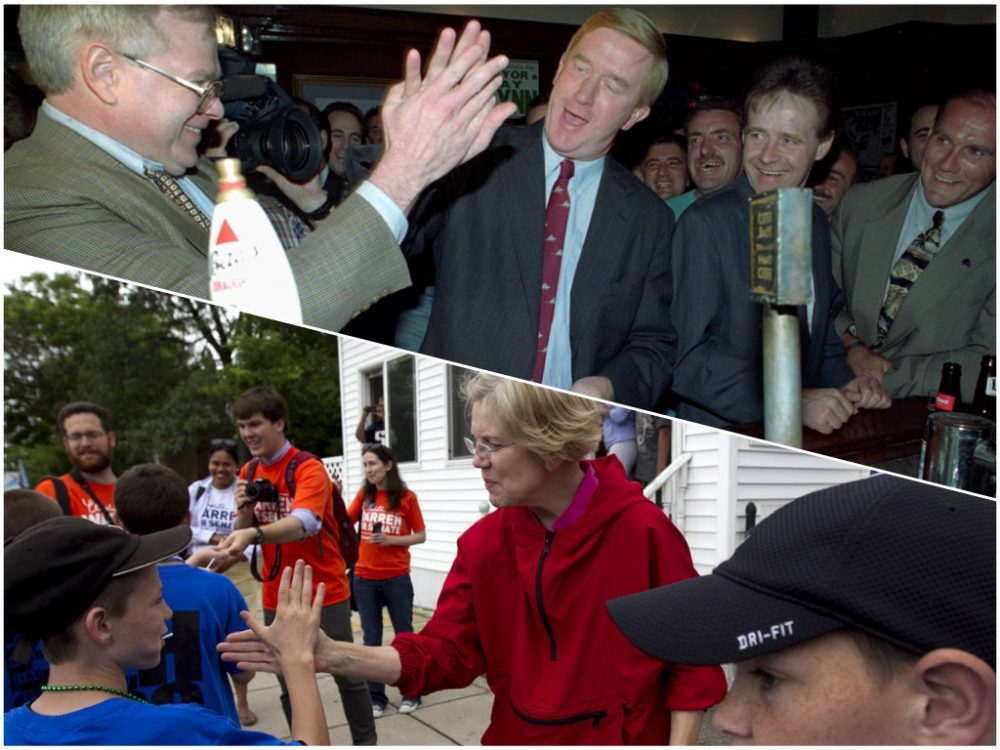 Top: In 1996, Gov. William Weld, center, slaps a high-five with a newspaper columnist as they split the bill to buy a round of drinks for the house at J.J. Foley's tavern. Bottom: U.S. Sen. Elizabeth Warren, pictured during her campaign in 2012, greets a group of children before marching in the Dorchester Day Parade.(AP)