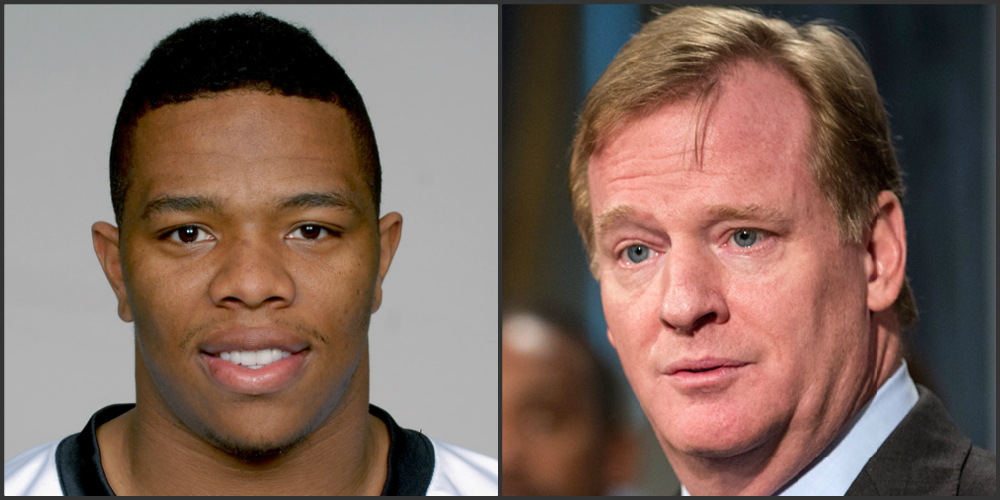 Ray Rice (left) and Roger Goodell (right). (Handout/Andrew Burton/Getty Images)