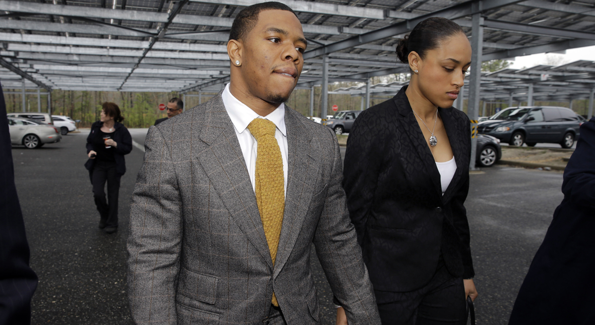 """Caryl Rivers: """"We must at last rid society of the notion that men have to be in charge and women have to obey, even when they are being brutalized."""" Pictured: Ray and Janay Rice enter the Atlantic County Criminal Courthouse on Thursday, May 1, 2014. After the couple got into a physical altercation on Feb. 15 at an Atlantic City casino, both were charged with simple assault-domestic violence. (Mel Evans/AP)"""