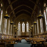 The Suzzallo Library reading room at the University of Washington.  Laurie Fendrich, a retired art professor, argues that older professors have an ethical obligation to retire and not stay on faculty indefinitely.(hjl/Flickr)