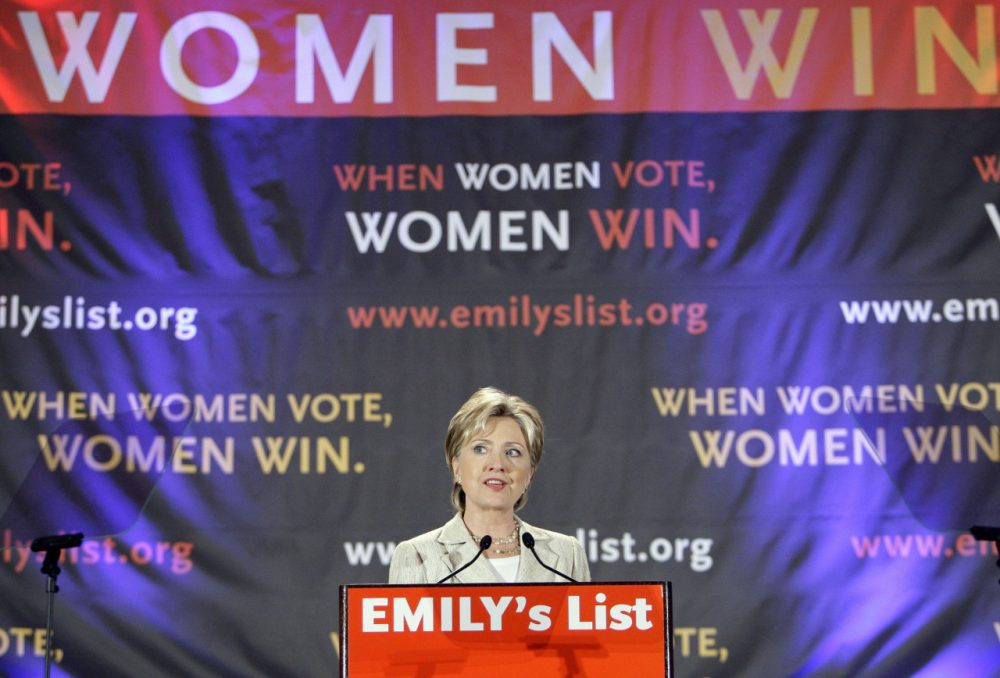Senator Hillary Clinton appears at the Emily's List 2008 Convention Gala at the Democratic National Convention in Denver, Tuesday, Aug. 26, 2008. (Matt Rourke/AP)