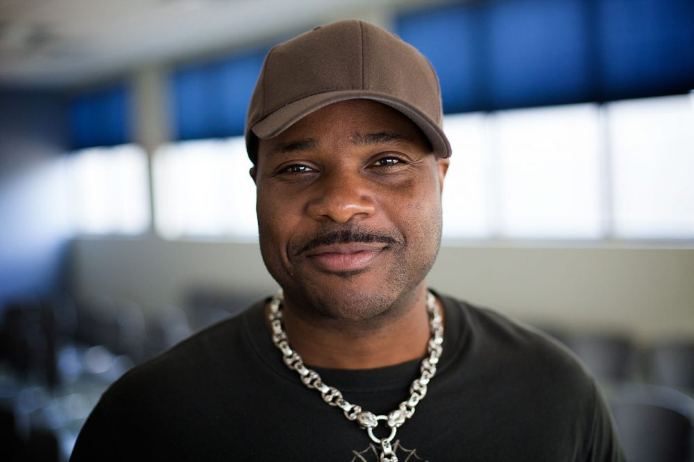 "Malcolm-Jamal Warner, who's best known for his role as Theo Huxtable in ""The Cosby Show,"" in WBUR's studios. (Jesse Costa/WBUR)"