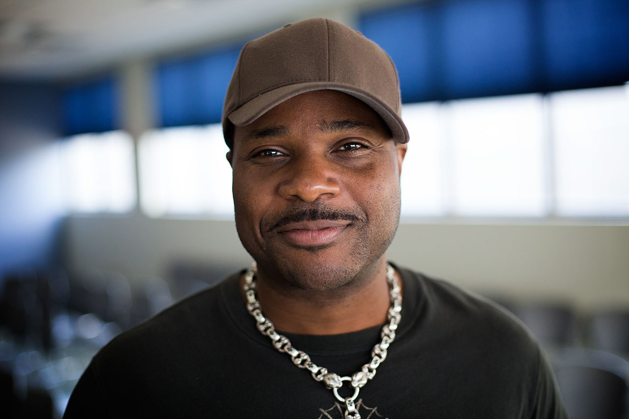 """Malcolm-Jamal Warner, who's best known for his role as Theo Huxtable in """"The Cosby Show,"""" in WBUR's studios. (Jesse Costa/WBUR)"""