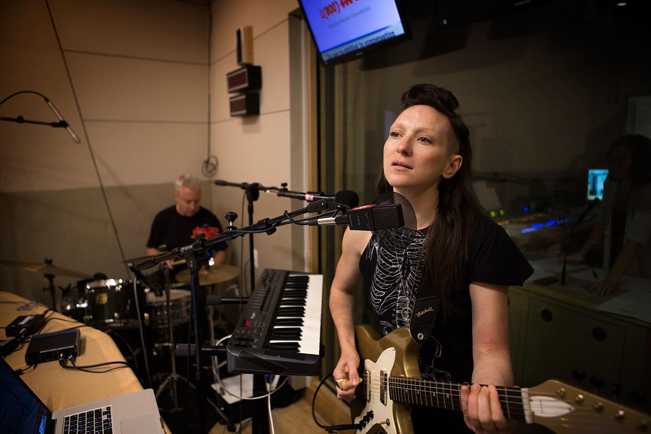 My Brightest Diamond's Shara Worden performs in WBUR's studios. (Jesse Costa/WBUR)