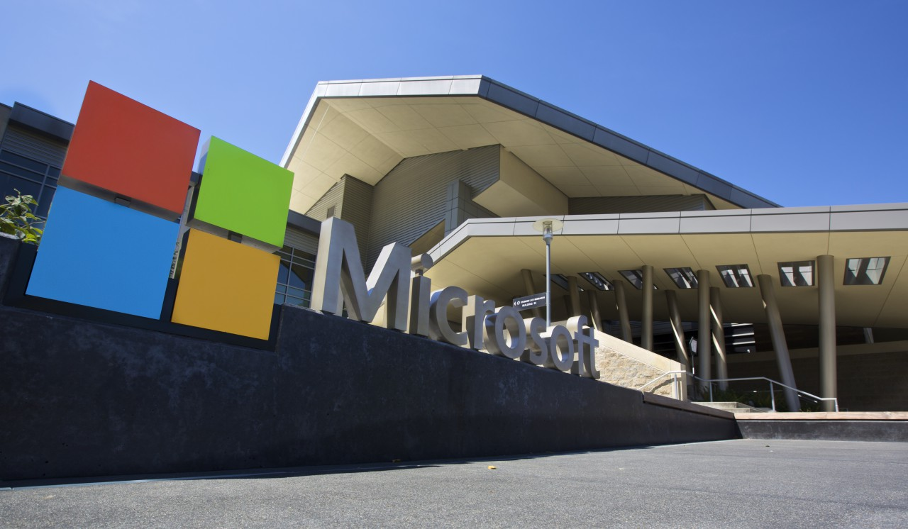 The Visitor's Center at Microsoft Headquarters campus is pictured July 17, 2014 in Redmond, Washington. Microsoft was one of the first companies to implement an internal carbon fee to reduce emissions. (Stephen Brashear/Getty Images)