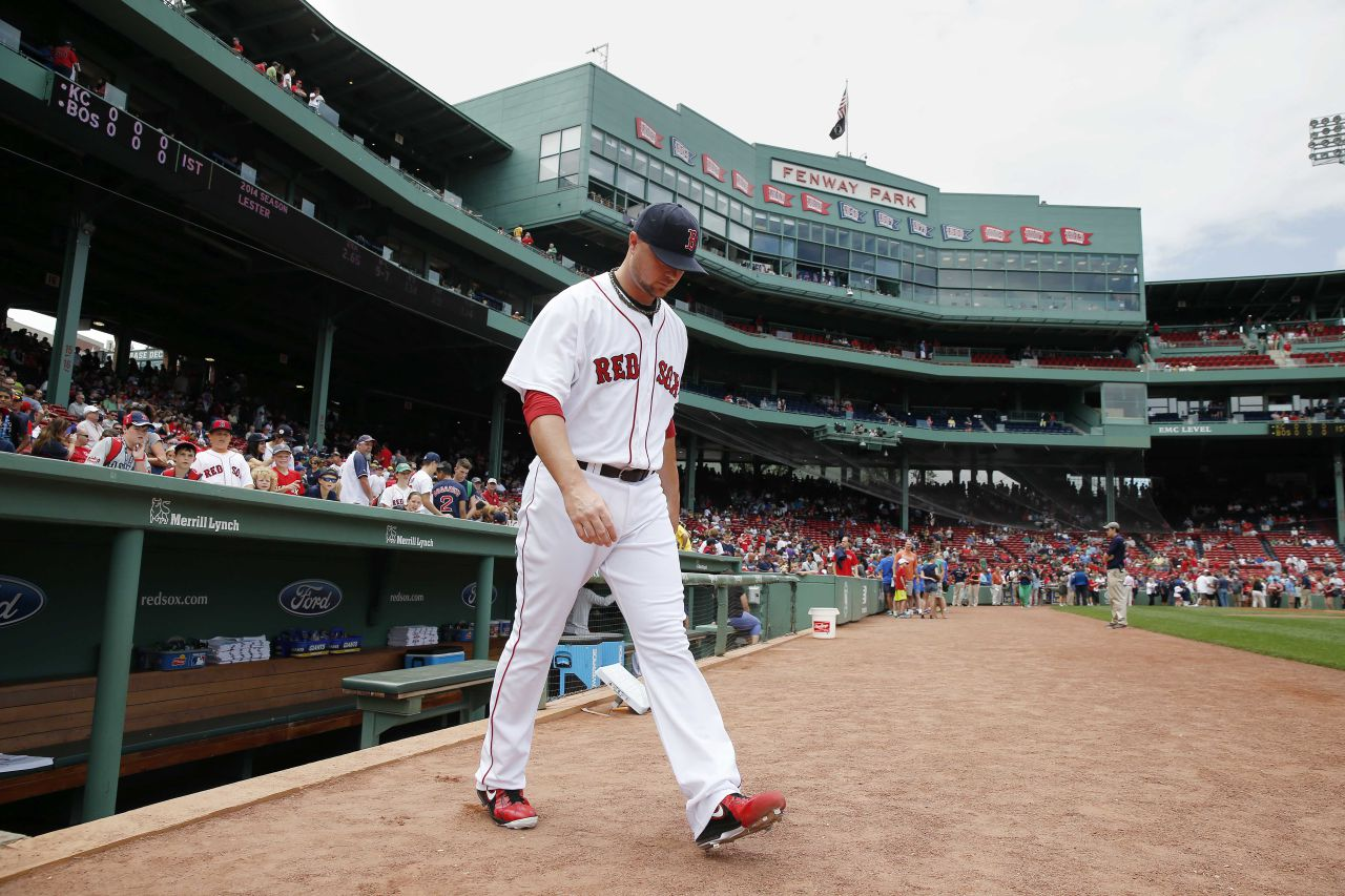 The Red Sox's Jon Lester heads to the bull pen before a game against the Kansas City Royals at Fenway on Sunday, July 20, 2014. (Michael Dwyer/AP)